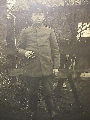 Orig Privat Foto WW 1.WK RAR ! Portrait Soldat in Uniform als Feldpost aus 1918