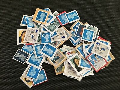 100 x GB 2nd Class Blue & Mixed Design Stamps Unfranked on Paper Face Value £58