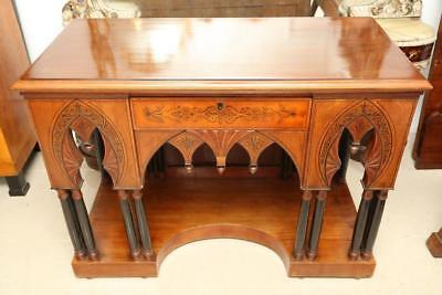 Antique Walnut Antique Console Table or Server Gothic Style Ebony Inlay