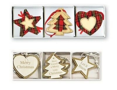 Wooden Hessian Tartan Christmas Tree Heart Star Decorations Decoration Baubles