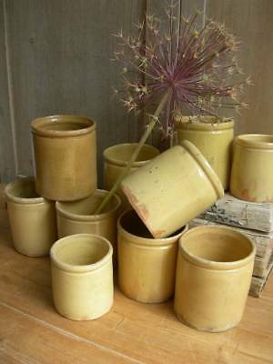 Collection 10 antique French 19th century glazed earthenware confiture pots