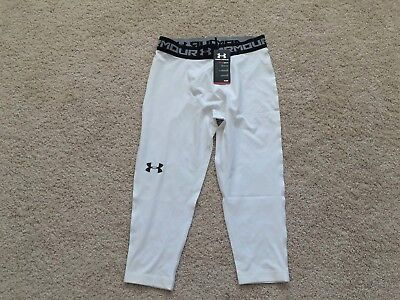 NEW UNDER ARMOUR Heat Gear 3/4 Length Compression Leggings XXL 1264005 White