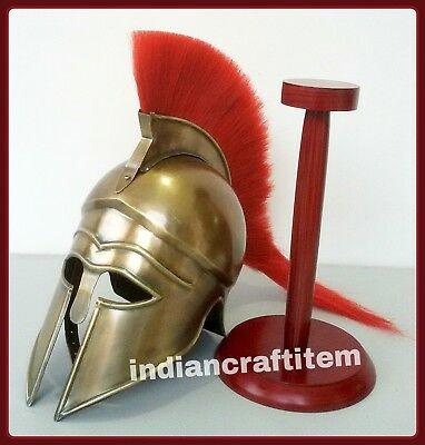 Greek-Corinthian-Helmet-w-Red-Plume-Armor-Knight-Spartan-W-Stand-Collectible