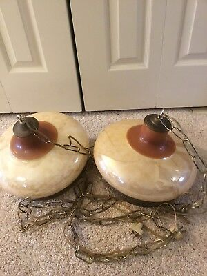 Dual Antique Hanging Swag Lamp Chain Porcelain Brass Victorian Pearl VTG Glass