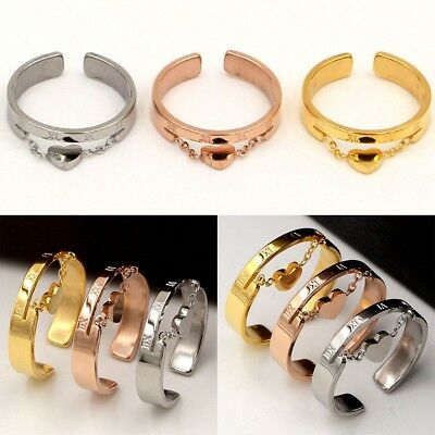 Women Gold Silver Finger Heart Open Ring Chain Ring Adjustable Fashion Jewelry