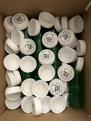 50 Pc 20 Dram Reversible Cap Vials Translucent Green Child Safe Herb Container