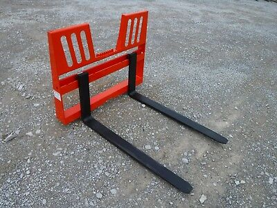 "Kubota Skid Steer Attachment 48"" 5500 lbs Walk Through Pallet Forks - Ship $149"
