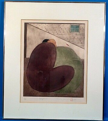 "Rare Eng Tay ""Companion"" Original Aquatint Etching Signed w/ Stamp LE 1980"