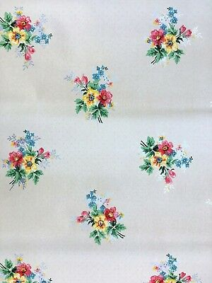 Vintage union made paper wallpaper flowers floral UWPC NA 2 partial rolls 1940s