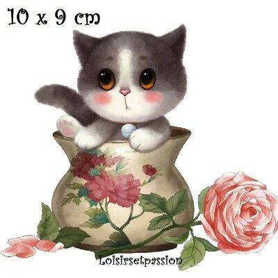 Patch Applique, Dessin Transfert thermocollant, CHAT Pot de fleurs, 10x9cm T014