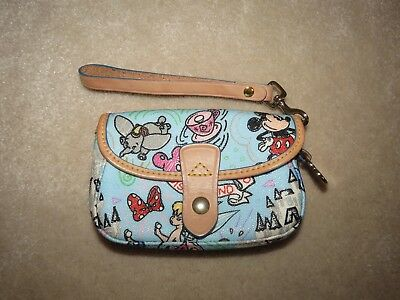 Dooney & Boure Disney Disneyland Blue Sketch Phone Case Wristlet Cute Rare!