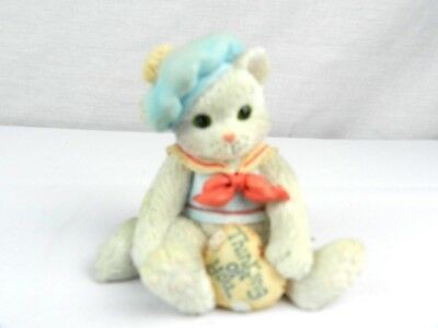 "Calico Kittens Figurine ""Thinking of You"" White Kitten 1992 P. Hillman 624715"