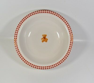 """Lipton Gund Ceramic Soup Cereal Bowl - Red White with Teddy Bear 6.5"""" Diam."""