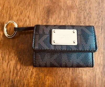 22abe42ca121 MICHAEL KORS Small Credit Card Coin Purse Wallet Key Ring MK Brown Leather