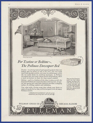 Vintage 1924 PULLMAN Davenport Bed Furniture Couch Home Decor Print Ad 20's