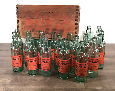 24 Antique Moxie Bottles with Original Wood Crate & Cardboard Divider