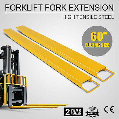 "60 Forklift Pallet Fork Extensions Pair High Tensile Strength Fit 5.9"" Width"