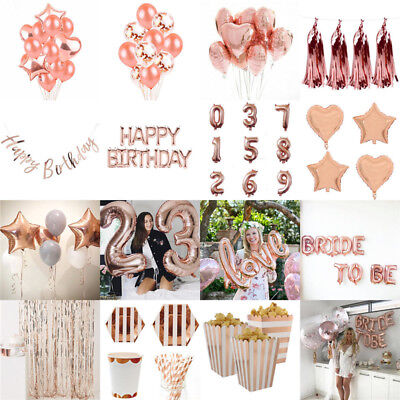 Rose Gold Theme Happy Birthday Bunting Banner Balloons Party Decoration Supplies
