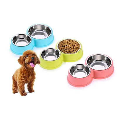 Pet Food Water Dual Bowls Stainless Steel Dog Food Container Water Drinking Dish