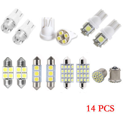 14Pcs White LED Interior Package Kit For T10&31mm Map Dome License Plate Light Y