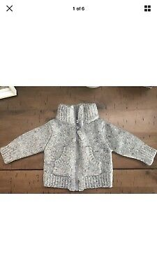Country Road Wool Unisex Baby Boy Girl Knit Jacket 0-3 Months Grey 000