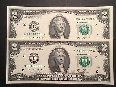 2 X US two dollar bank notes. Cons/Unc.