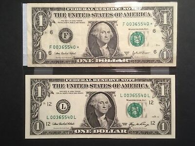 2 X US one dollar bank-notes with matching serial numbers. ( One is a star note)