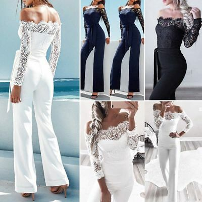 Fashion Lace Sleeve Romper Playsuit Party Jumpsuit Long Trousers Pants Clubwear
