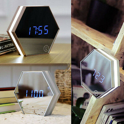 HOT Smart LED Digital Display Wall Alarm Clock w/Makeup Mirror Touch Night Light