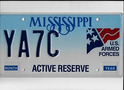 "MISSISSIPPI license plate ""YA7C"" ***MINT***U.S. ARMED FORCES***ACTIVE RESERVE***"
