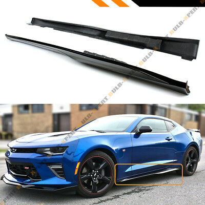 For 2016-2018 Chevy Camaro LT SS RS Gloss Black ZL1 Style Side Skirt Extension