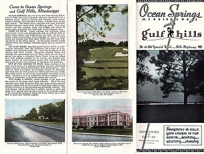 Ocean Springs & Gulf Hills Mississippi Vintage Travel Brochure Circa 1930's-40's