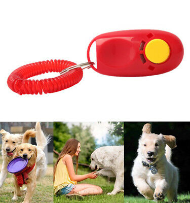 Dog Training Clicker Pet Click Obedience Agility Trainer Aid Wrist Strap Gift