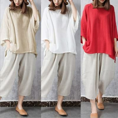 Vintage Women Casual 3/4 Sleeve Blouse Ladies Loose T Shirt Tops Tunic Plus Size