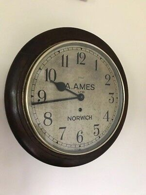 "Antique Wall Clock A. Ames of Norwich 12"" English Dial London Enfield Oak Cased"