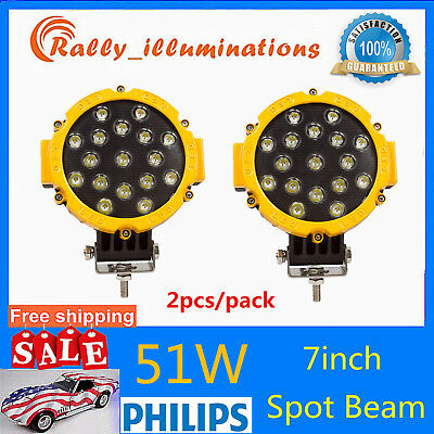2X 7inch 51W Round LED Work Light SPOT Off-road Fog Driving 4WD Boat Jeep Yellow