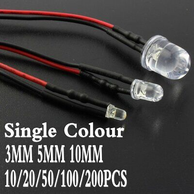 DC 12V 3mm/5mm/10mm Single Colour Pre-Wired LED Light Emitting Diode 20CM Cable