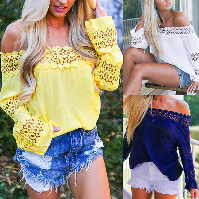 Womens Ladies Long Sleeve Off Shoulder Lace T Shirt Casual Loose Tops Blouse NEW