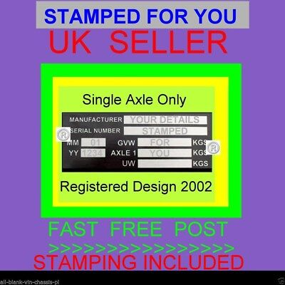 Single Axle Trailer Weight Plate Stamped For You Caravan All-Blank-Chassis-Plate