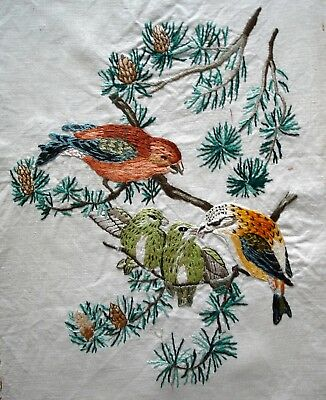 Vintage Hand Embroidered Linen Unframed Picture Garden Birds & Their Young