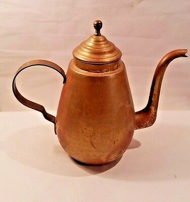 "Vintage Antique Brass Coffee Pot Very Large 14"" Tall"