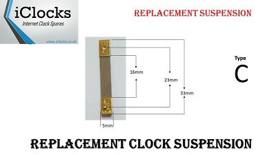 Brass Clock Pendulum Suspension Spring. (33 x 16 x 5.5mm) (Type C) UK Seller