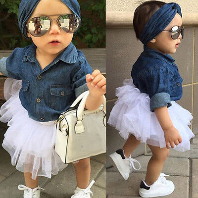 3PCS Lively Kid Infant Baby Girl Denim Top Shirt+Tulle Tutu Skirt+Hairband Dress