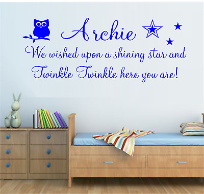 Boys Personalised Name Wall Art Sticker Quote Bedroom Nursery Rhyme Twinkle Owl