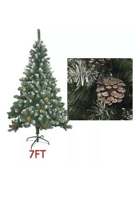 Livivo 7ft Christmas Tree With Snowy Tips And Cones