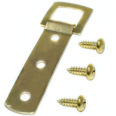 10 x BRASS HEAVY DUTY 3 HOLE PICTURE FRAME STRAP HANGER HANGING HOOK & SCREWS