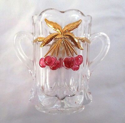 Mosser Glass Red Cherry And Gold Cable Toothpick Holder Excellent