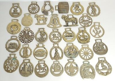 Large Collection of 32 x Antique / Vintage Horse Brasses Brass Job Lot