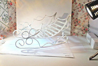 Vintage/Christmas/Sleigh/Sled/Metal/Scrolly/White/Shabby Chic