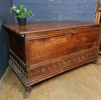 Large antique french / spanish pine blanket box trunk, chest coffer